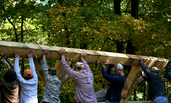 Timber frame lifting for Maple sugar shack