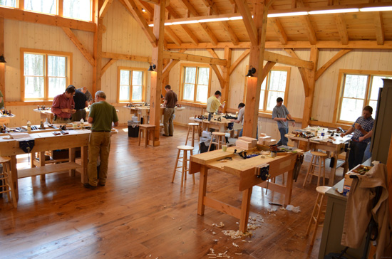 Using antique hand-powered beam augers, chisels and handsaws, the ...